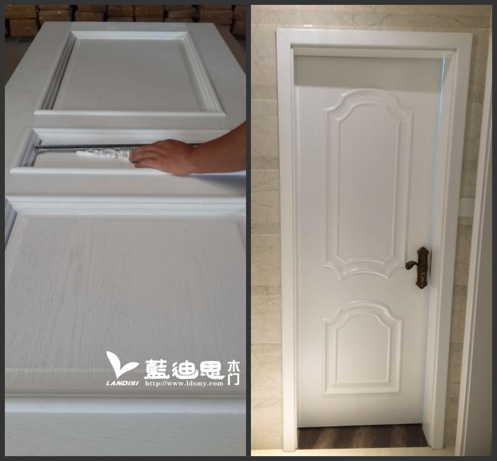 假扣线烤漆门是平面上雕刻造型在外镶嵌一圈线条,这种工艺非常简单,与