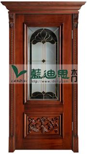 欧式玻璃雕花实木烤漆门