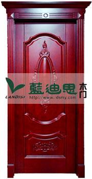 中式红橡木深槽扣线雕花烤漆门,河南双垭口实木门,制定工程商专用门