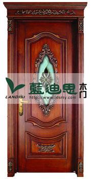 别墅磨砂玻璃实木雕花门 欧式别墅高档扣线门