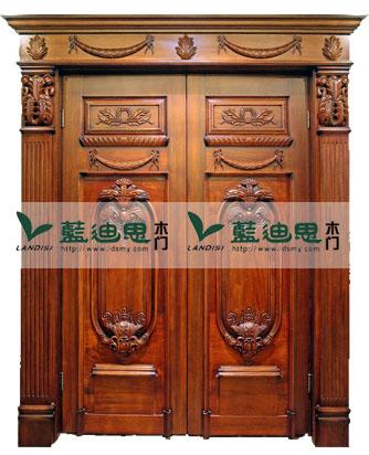 欧式仿古典对开实木雕花烤漆门 隔音好价格低款式多