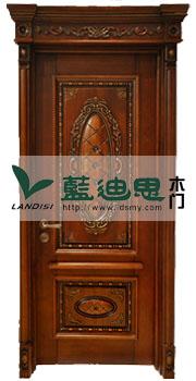 指环王柚木高档酒店实木雕花门 英伦风格