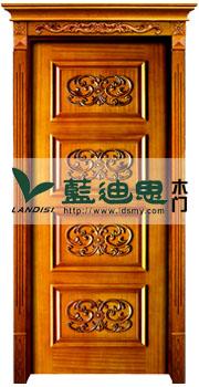 中式雕刻拼接雕花扣线门 黄花梨高档实木烤漆门