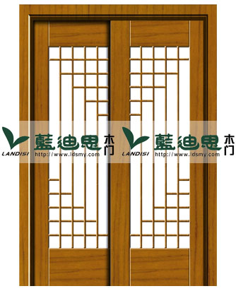 室内客厅对开玻璃烤漆门,中式新型镂空木门设计
