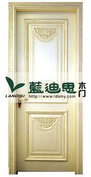 银色经典,复古雕花实木门,橡木白开放扣线烤漆实木门