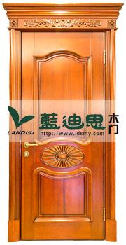 美式牛角花扣线玻璃烤漆门