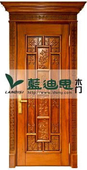 中式传统扣线仿古实木门,河南雕花烤漆工艺门,酒红檀木定制门款