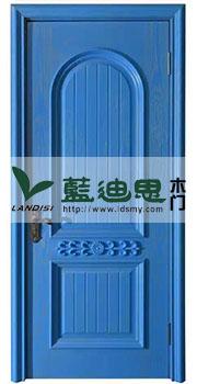 仿古实木门海军蓝/科技蓝清新色,河南精调价烤漆门厂家厚重包装发货