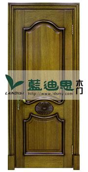 仿古绿扣线实木门,中式外镶线纯实木门,木皮茶青特定款式样