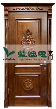 金银花浮雕深槽对开实木烤漆门力争品质[河南黄核桃木选材]优值工厂
