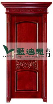 上流工匠中国红贴木批扣线雕花烤漆门+冒头实木料头,价格从低出厂