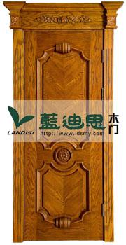 黄桃木木皮拼接压线雕花烤漆门,肌理明显[范围出厂广]